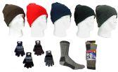 180 Units of Adult Knit Cuffed Hat, Men's Knit Gloves, & Men's Merino Wool Blend Socks Combo