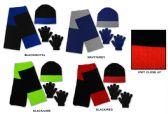 24 Units of Men's/Boy's Hat, Glove, & Scarf Sets - Colorblock Designs - Winter Sets Scarves , Hats & Gloves
