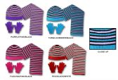 36 Units of Women's/Girl's Hat, Glove, & Scarf Sets - Striped Designs - Winter Sets Scarves , Hats & Gloves