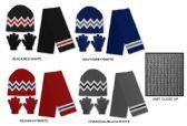 36 Units of Men's/Boy's Hat, Glove, & Scarf Sets - Zig Zag Designs - Winter Sets Scarves , Hats & Gloves
