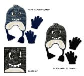 48 Units of Toddler Boy's Sherpa Lined Earflap Hat & Magic Glove Sets - Monster Designs - Winter Sets Scarves , Hats & Gloves