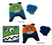 48 Units of Toddler Fleece Lined Earflap Hat & Magic Glove Sets - Monster Designs - Winter Sets Scarves , Hats & Gloves