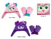 48 Units of Toddler Girl's Fleece Lined Earflap Hat & Mitten Sets - Owl Designs - Winter Sets Scarves , Hats & Gloves