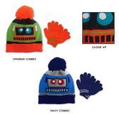 48 Units of Toddler Boy's Pom Pom Hat & Magic Glove Sets - Robot Designs - Winter Sets Scarves , Hats & Gloves