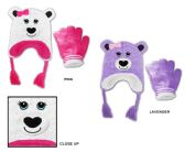 48 Units of Toddler Girl's Sherpa Lined Earflap Hat & Magic Glove Sets - Bear Designs - Winter Sets Scarves , Hats & Gloves