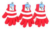 60 Units of Adult Magic Gloves - Red & White Christmas Striped