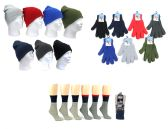 180 Units of Premium Adult Knit Cuffed Hat, Adult Magic Gloves, & Women's Thermal Socks - Winter Sets Scarves , Hats & Gloves
