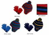 36 Units of Children's Fleece Lined Earflap Hat & Magic Glove Sets - Striped - Winter Sets Scarves , Hats & Gloves