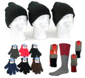 180 Units of Adult Cuffed Knit Hats, Adult Magic Gloves, and Thermal Socks Combo - Winter Sets Scarves , Hats & Gloves