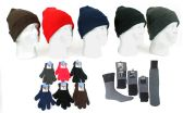 180 Units of Adult Knit Cuffed Hat, Adult Magic Gloves, & Mens Thermal Socks - Winter Sets Scarves , Hats & Gloves