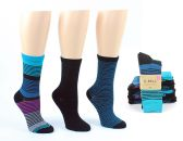 8 Units of Women's Designer Crew Socks by K. Bell - Striped & Solid Prints - 3-Pair Packs