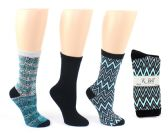 8 Units of Women's Designer Crew Socks by K. Bell - Snakeskin, Chevron, & Solid Designs - 3-Pair Packs