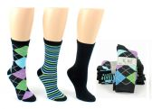 8 Units of Women's Designer Crew Socks by K. Bell - Argyle, Striped, & Solid Designs - 3-Pair Packs
