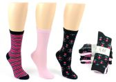8 Units of Women's Designer Crew Socks by K. Bell - Striped, Solid, & Floral Designs - 3-Pair Packs