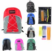 """24 Units of 17"""" Classic Bungee PureSport Backpack & High School Supply Kit Sets"""