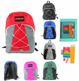 "24 Units of 17"" Classic Bungee PureSport Backpack & Elementary School Supply Kit Sets"
