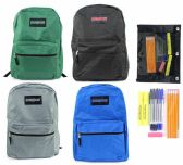 "24 Units of 15"" Classic PureSport Backpack & High School Supply Kit Sets"