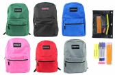 "24 Units of 17"" Classic PureSport Backpack & High School Supply Kit Sets"