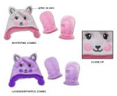 48 Units of Baby Girl's Fleece Lined Earflap Hat & Mitten Sets - Cat Designs