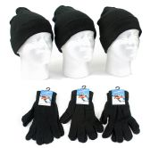 120 Units of Adult Cuffed Knit Hats and Magic Gloves Combo Packs