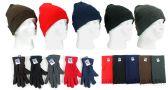 180 Units of Cuffed Winter Knit Hats, Women's Fleece Gloves, and Fleece Scarves