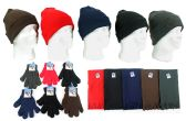 180 Units of Cuffed Winter Knit Hats, Magic Gloves, and Solid Fleece Scarves