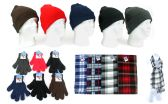 180 Units of Cuffed Winter Hats, Magic Gloves, and Checkered Scarves Combo Packs