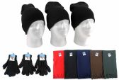 180 Units of Adult Beanie Knit Hats, Magic Gloves, and Solid Scarves Combo Packs