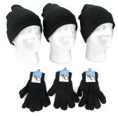 120 Units of Adult Beanie Knit Hats and Magic Gloves Combo Packs