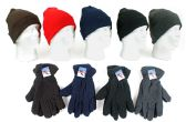120 Units of Cuffed Winter Knit Hats and Fleece Gloves Combo Packs