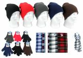 180 Units of Adult Beanie Knit Hats, Magic Gloves, and Checkered Scarves Combo Packs