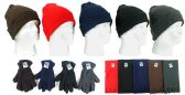 180 Units of Cuffed Winter Knit Hats, Men's Fleece Gloves, and Assorted Scarves