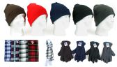 180 Units of Cuffed Winter Hats, Fleece Gloves, and Checkered Scarves Combo Packs