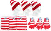 180 Units of Christmas Striped Beanie Knit Hats, Magic Gloves, & Scarves