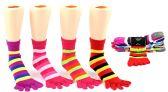 24 Units of Girl's Toe Socks - Striped Print - Size 6-8