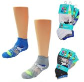 24 Units of Boy's Low Cut Novelty Socks - Paint Splatter Print - Size 6-8