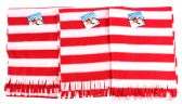 "60 Units of Premium Fleece Scarves - Red/White Stripes - 60"" x 12"" - Winter Scarves"