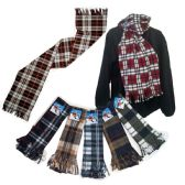 "72 Units of Premium Fleece Scarves - Plaid Prints - 60"" x 12"" - Winter Scarves"