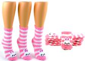 24 Units of Women's Fuzzy Crew Socks with 3-D Bunny - Size 9-11