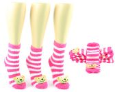 24 Units of Women's Fuzzy Ankle Socks with 3-D Bear - Size 9-11