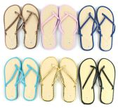 96 Units of Women's Bamboo Flip Flops - Solid Color Trim
