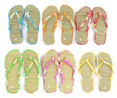 96 Units of Women's Bamboo Flip Flops - Floral Trim