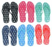 96 Units of Women's Flip Flops - Anchor Prints