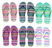 96 Units of Women's Flip Flops - Tribal Prints