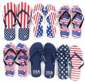 96 Units of Men's Flip Flops - Americana Patterns