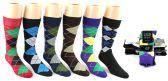 24 Units of Men's Casual Crew Dress Socks - Argyle Print - Size 10-13 - Mens Crew Socks