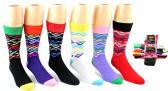 24 Units of Men's Casual Crew Dress Socks - Pyramid Print - Size 10-13 - Mens Crew Socks