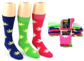 24 Units of Men's Casual Crew Dress Socks - Marijuana Leaf Print - Size 10-13 - Mens Crew Socks