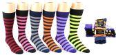 24 Units of Men's Casual Crew Dress Socks - Striped Print - Size 10-13 - Mens Crew Socks
