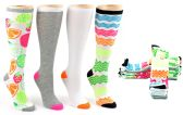 6 Units of Women's Knee High Novelty Socks - Assorted Neon Prints - Size 9-11 - 4-Pair Packs